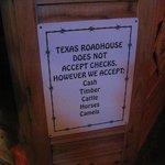 Sign inside the restaurant