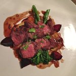 Woodfire Grilled Kangaroo with Potatoes Galletine and Brocolini