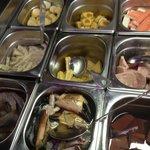 selection of crab, prawns etc,