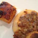 vege mini pizza and focaccia with sun dried tomato