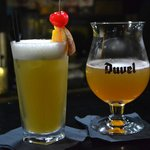 Blu Bar Pina Colada and Duvel Beer! :D