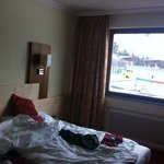 the room us facing the magnificent ski slopes