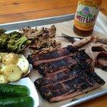 Dinner - St. Louis Pork ribs, Beef Brisket, pulled pork, broccoli salad, potato salad and pickle