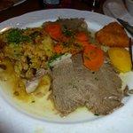 Tafelspitz, Potatoes, Roasted Veggies, & some of my daughter's Wienerschnitzel too (on upper rig