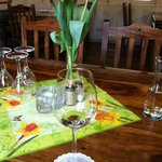 Wine and lovely tulips