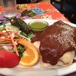 Mole-covered 1/2 burrito!