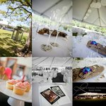 Wedding montage with marquee on lawn