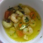 Fish soup which was made by Arthur berger, under his course of cooking for hotel gusets. Appr