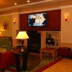 Lobby TV fireplace