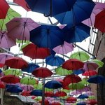 bright umbrellas near Vinopolis.