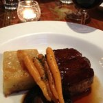 My main course, eye fillet, potato galette, baby carrots, roasted mushrooms, jus