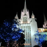 Christmas lights add to the overall beauty of the LDS Temple