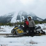 Photo opportunity time during a whole day of snowmobiling