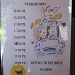 Shuttle service schedule to Krabi town
