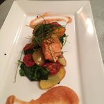 Smoked Trout with Chorizo, Spinach, potatoes on Apple & Ginger purée. an amazingly delicious com