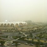 Heavy sandstorm in Abu Dhabi. Blocked the view of Yas Marina Circuit. Picture taken from our roo