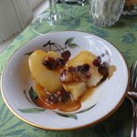 Poached pears w/ gourmet cranberry sauce. Yum!
