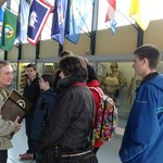Ellwood gives a tour of the paratrooper museum in St. Mere Eglise