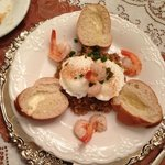Poached eggs, shrimp, boudin and French bread