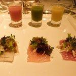 Trilogy of gazpacho and sashimi