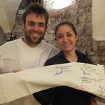 Francesco and Sara sign our friends Chef Coat
