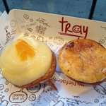 Lemon on left, pear & ricotta on right