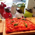 Pizza with 3 tomatoes, San Marzano tomato sauce and cherry ... feel like spring!