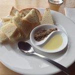 Homemade bread, macadamia oil with lemon myrtle and dukkah