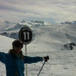 At the beginning of my first black run (Samoens) -- yippee !!