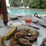 BBQ food by the pool