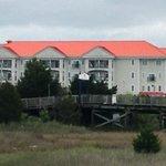 Hotel seen from marina boardwalk