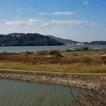View of RSPB Nature Reserve looking towards Conwy Castle in the distance