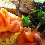 Salmon and Scrambled Egg with three breads