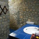 Stone walled bathroom
