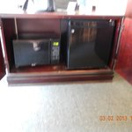 fridge, microweave, coffee maker