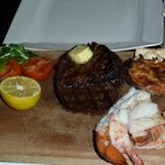 Chateaubriand and adds-on of lobster thermidor, lobster tail and prawns