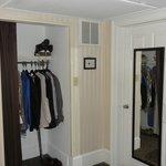 Closet on left. Bathroom door on right