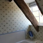 The vaulted ceiling with wooden beams is very nice