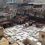 La tannerie a ciel ouvert et les peaux qui sèchent sur les murs et les toits