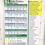 Copy of the bus timetable to Nice