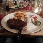 Steak with blue cheese mushroom