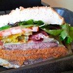 Voodoo Burger: that's beef AND Cajun spicy sausage...plus peppers!