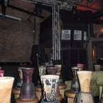The room with many druns for patrons to learn the art of drumming