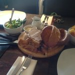 Very and I mean VERY tough pork. Chewy.  Yorkshire pud hard too. Food LOOKS the part but...