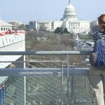 The terrace overlooks Pennsylvania Avenue -- and the Capitol.