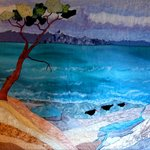Oyster Catchers Machine Embroidered Quilted Hanging