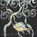 Ocean Perch Silk Painting Machine Embroidered Hanging