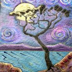 Swirly Sky Silk Painting Embroidered Hanging