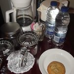 Complimentary coffee, water and cookies