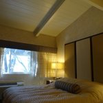 Bed and vaulted ceilings